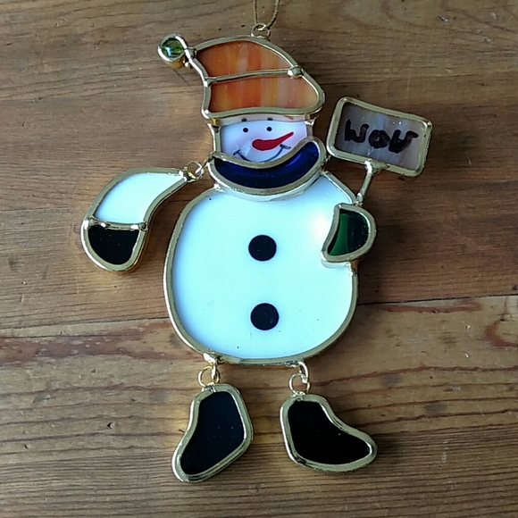 Stained Glass Snowman Ornament Moving Joints